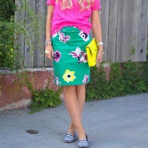 J. Crew   Punk Floral Pencil Skirt green flowers